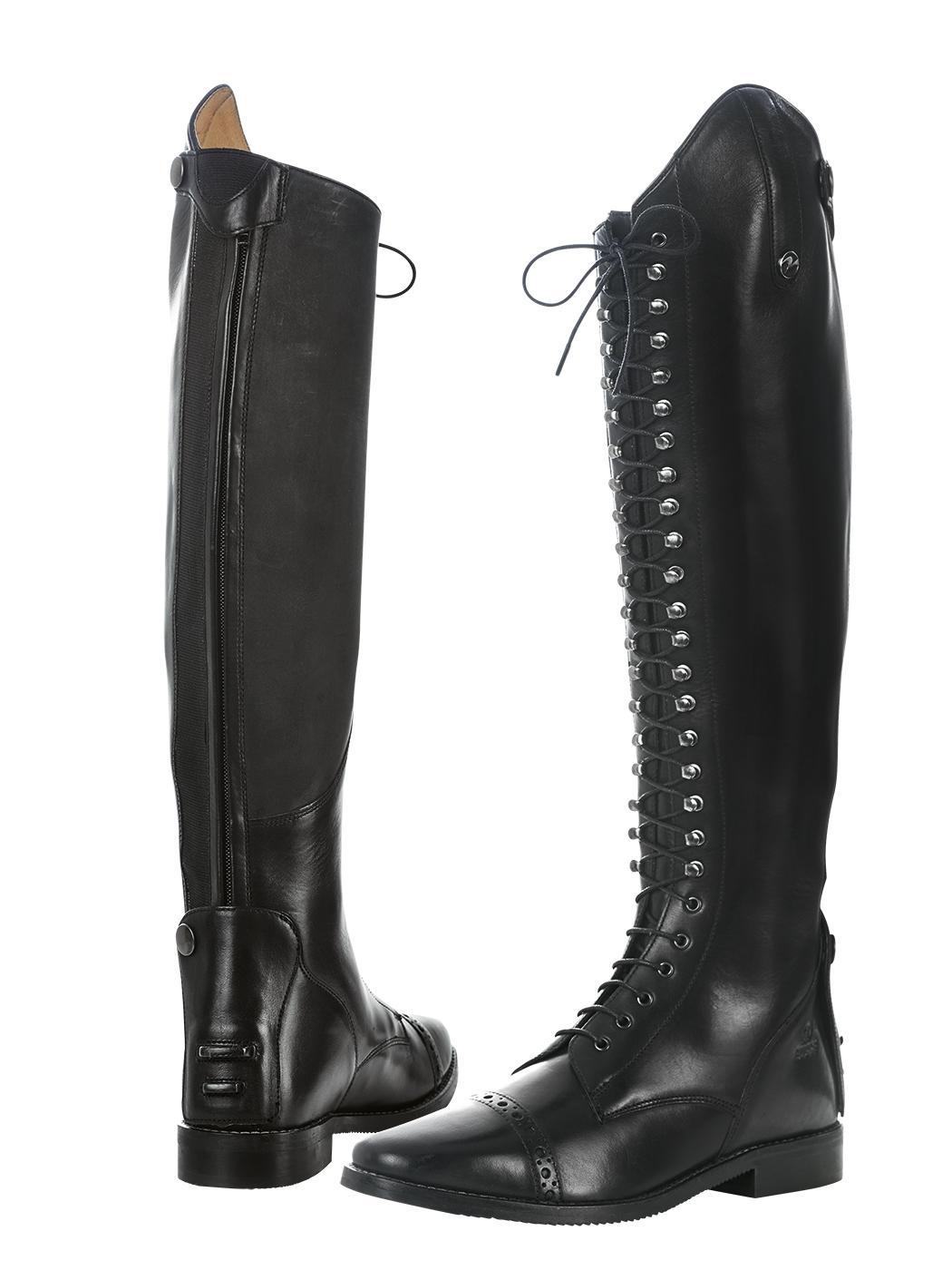 5d4bb9bcc Luxusní vysoké jezdecké boty ALVAL. Nádherně zpracovaná hovězí kůže z  Brazílie. Boty mají vysoké šněrování, podložené koženým jazykem který je  přichycen na ...